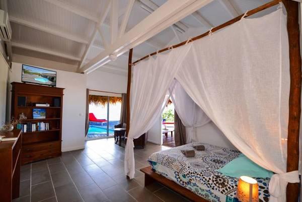 bungalow tartane ti turquoise chambre TV