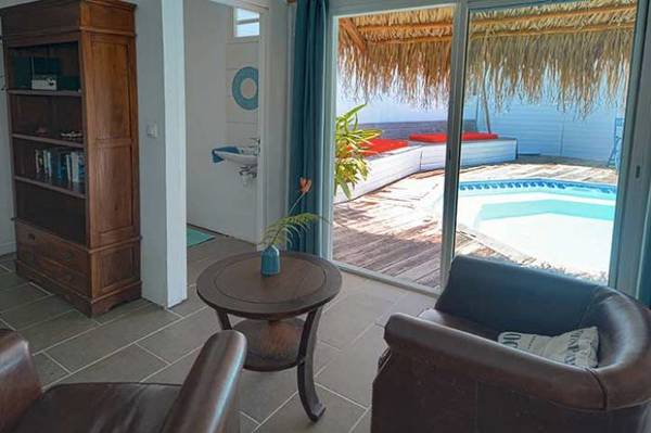 bungalow tartane ti turquoise piscine canapes