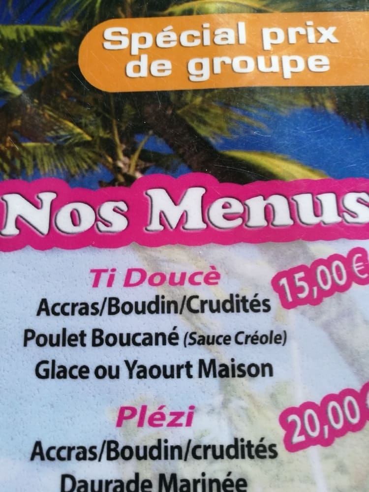 menu ti'doucé