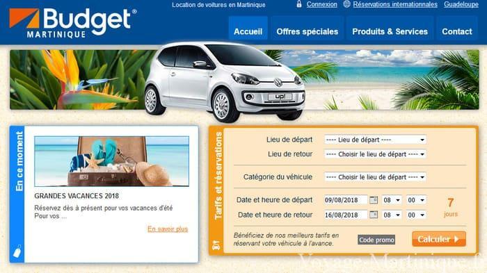 Location voiture Budget Martinique