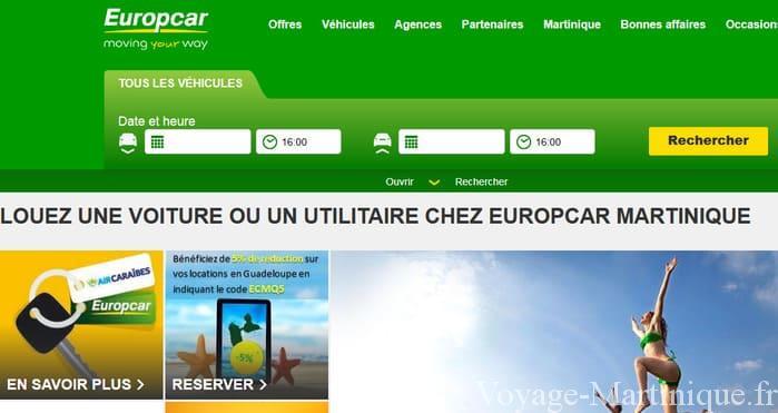 Location voiture Europcar Martinique
