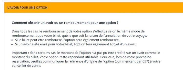 Remboursement Options Air France