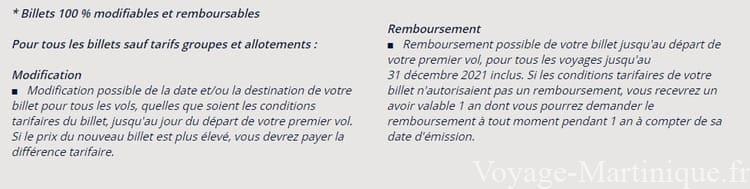 Billet Avion Martinique Remboursable